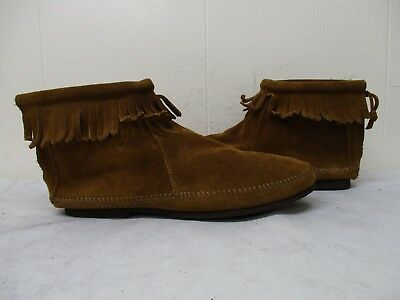 MINNETONKA Brown Suede Leather Fringe Zip Ankle Boots Moccasins Womens Size 7.5