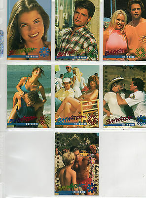 Baywatch - Lot Of 7 Different Rainbow Foil Chase Cards NM Sportstime 1995