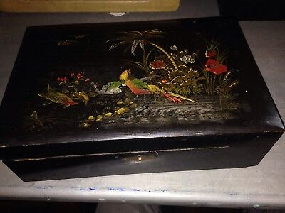 Vintage Antique Lacquered Writing Slope Oriental Wax Velvet Hand Painted