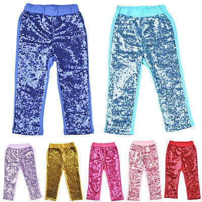 Kid Girls Sequins Long Pants Shiny Dance Party Trousers Glitter Bottoms Pant