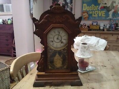 Antique American 8 day mersey clock new haven clock company
