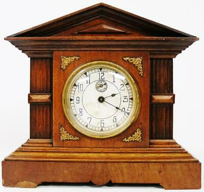 Antique 8 Day Jungians Architectural Musical Chime Mantel Clock Floating Balance