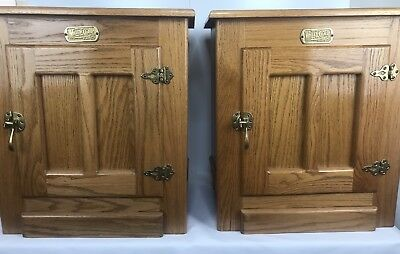 2 Vintage White Clad IceBox Cabinet End Side Table Oak Brass Hardware Nightstand