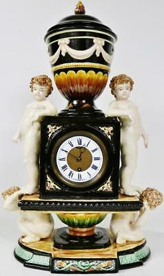 Huge Antique French 8 Day Hand Painted Paris Porcelain Figural Mantel Clock