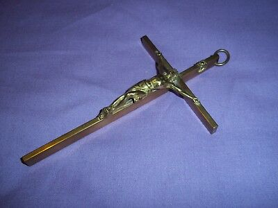 Antique Wall Hanging Brass Crucifix With Brass Jesus 6 x 3 1/2 Inches