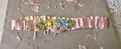 Antique Edwardian Pink Silk Garter Ribbonwork Ribbon Roses Flapper Wedding Vict