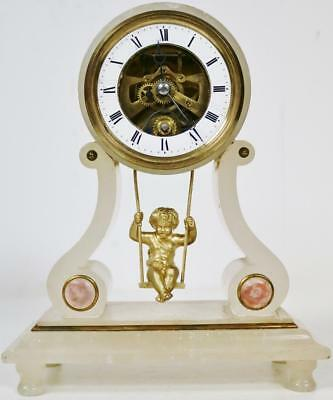 Antique French 8 Day Farcot/Brevete Marble Swinging Cherub Portico Mantel Clock