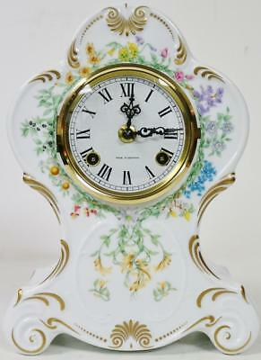 Beautiful Vintage Franz Hermle Hand Painted White Porcelain 8 Day Mantel Clock