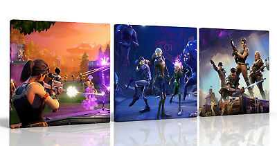 set of 3 CANVAS PICTURES ,FORTNITE GAMING BOYS BEDROOM , NEW FREE P&P