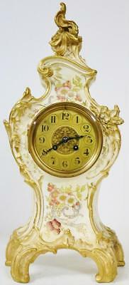 Antique French 8 Day Hand Painted Floral Designed Paris Porcelain Mantel Clock