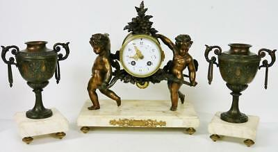 Antique French 8 Day Striking Spelter & Marble Cherub Figural Mantel Clock Set