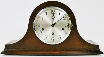 Antique English 8 Day Oak Napoleon Hat Rare Triple Chime Musical Mantel Clock