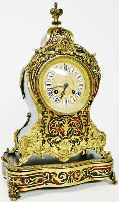 Antique French 8 Day Red Shell & Bronze Rococo Brass Inlaid Boulle Mantel Clock