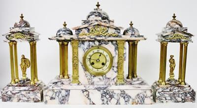 Large Antique 8 Day French Architectural Polished Marble Mantel/Table Clock Set
