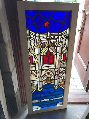 SG2557 painted in fired architectural design Stainglass window 21 x 50.75