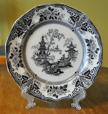 Lovely Antique Black Transferware Ironstone Staffordshire Plate Clementson Hyson