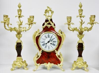Antique French 8 Day Red Shell & Bronze Rococo Mantel Clock & Candelabras Set