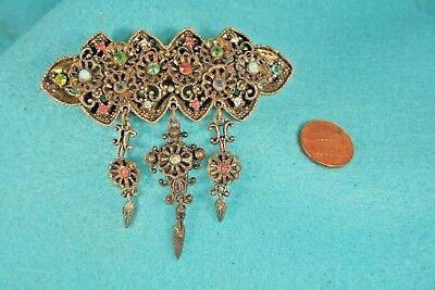 Large Vintage Antique Brass? Filigree? Rhinestone Charm Brooch Pin S7
