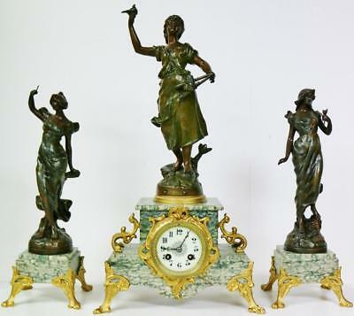 Antique French 8 Day Spelter & Marble Lady Figural Striking Mantel Clock Set