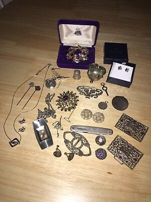 Massive Job Lot Of Vintage & Antique Good Quality Costume & Silver Jewellery