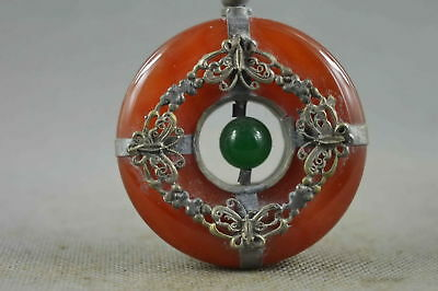 Collectable Handwork Old Miao Silver Carve Butterfly Inlay Jade Noble Pendant