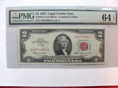 1963 $2 Legal Tender Note Red Seal-Pmg #64 Choice Unc - Beautiful Epq