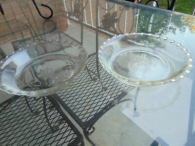 "(2)  Two PYREX Pie Dish Pan Plates 6"" Size #206 Crimped Fluted Edge Clear Glass"