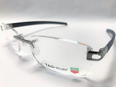 New Tag Heuer L-Type Leather Eyeglasses Th 0151 004 57 Ruthenium/gray/navy Blue