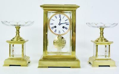 Rare Antique French 4 Glass Regulator Mantel Clock Set With Etched Glass Panels