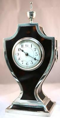 Antique Solid Silver Red Shell Mantel Clock London Silver Mantle Clock Gv & Co