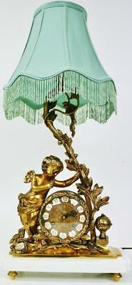 Vintage Franz Hermle 8 Day Embossed Bronze Striking Figural Mantel Lamp Clock