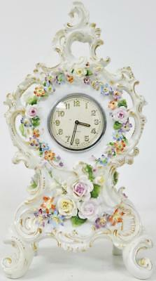 Small Antique Hand Painted Floral Decoration Hard Paste Porcelain Mantel Clock
