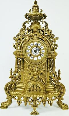 Vintage Franz Hermle 8 Day Ornate Embossed Ormolu 2 Bell Striking Mantel Clock
