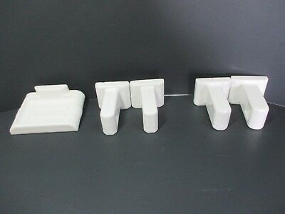 Vtg. White Ceramic Porcelain Wall Mount Soap Dish & 2 Pairs Towel Bar Holders