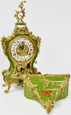 Vintage Hand Painted Green Lacquer Case & Ormolu Mounts Bracket Clock On Bracket