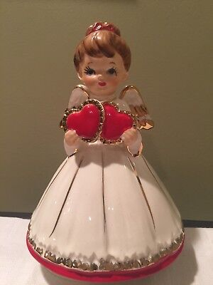 Vintage LEFTON VALENTINE ANGEL Holding Hearts Musical Wind Up Music Box FIGURINE