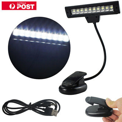 10 LED Eye Care USB Stand Light Clip On Bed Music Reading Book Lamp