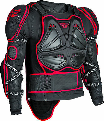 Fly Racing Mens Black/Red Barricade Long Sleeve Dirt Bike Armored Jacket MX ATV