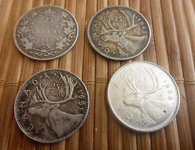 1918, 1943, 1951, 1968 - Canada 25 Cent Coins