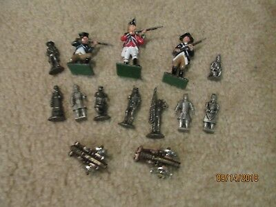 Rare, Assorted Lot of 14 Pewter & Metal Military Figurines and Cannons