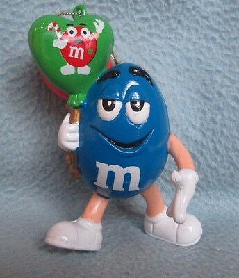 "BLUE M&M HOLDING BALLOONS 3.5"" CHRISTMAS ORNAMENT, m&m's"