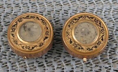 vintage gold filled Antique Hand Painted Cufflinks dated 1875 Mourning ?