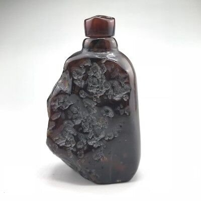 Chinese retro natural agate snuff bottle hand-carved and beautifully shaped
