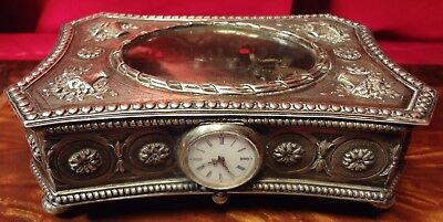 Exquisite Repousee Sterling (835) 2 Tune Music Box With Watch Mint Condition