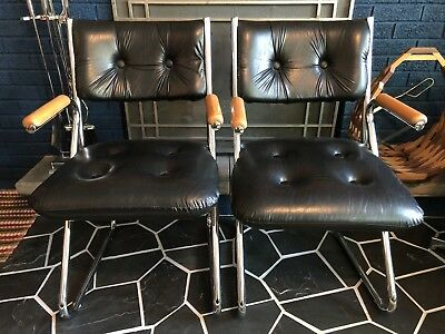 Vintage Mid-Century Modern DAYSTROM Black Vinyl/Wood/Chrome Tubular Arm Chairs