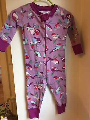 HANNA ANDERSSON 70 Toddler Girl Sleeper Pajamas Birds Purple 9-12 Months GUC