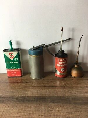 Vintage Lot of 4 Handy Household Oiler Oil Cans