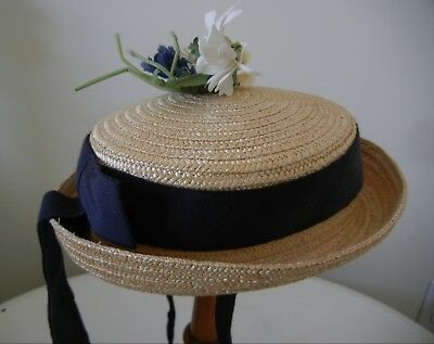 Vintage Child's Straw Hat With Ribbon--Margaret O'Brien M.G.M by Cinderella NY