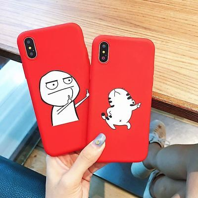 Prank Meme Middle Finger Cat Soft Red Case Back Cover for iPhone X Xs Max 6 7 8P