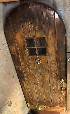 Vintage Round Top Arched Exterior Thick Wood Door w/ Window 1932 Atlanta Home